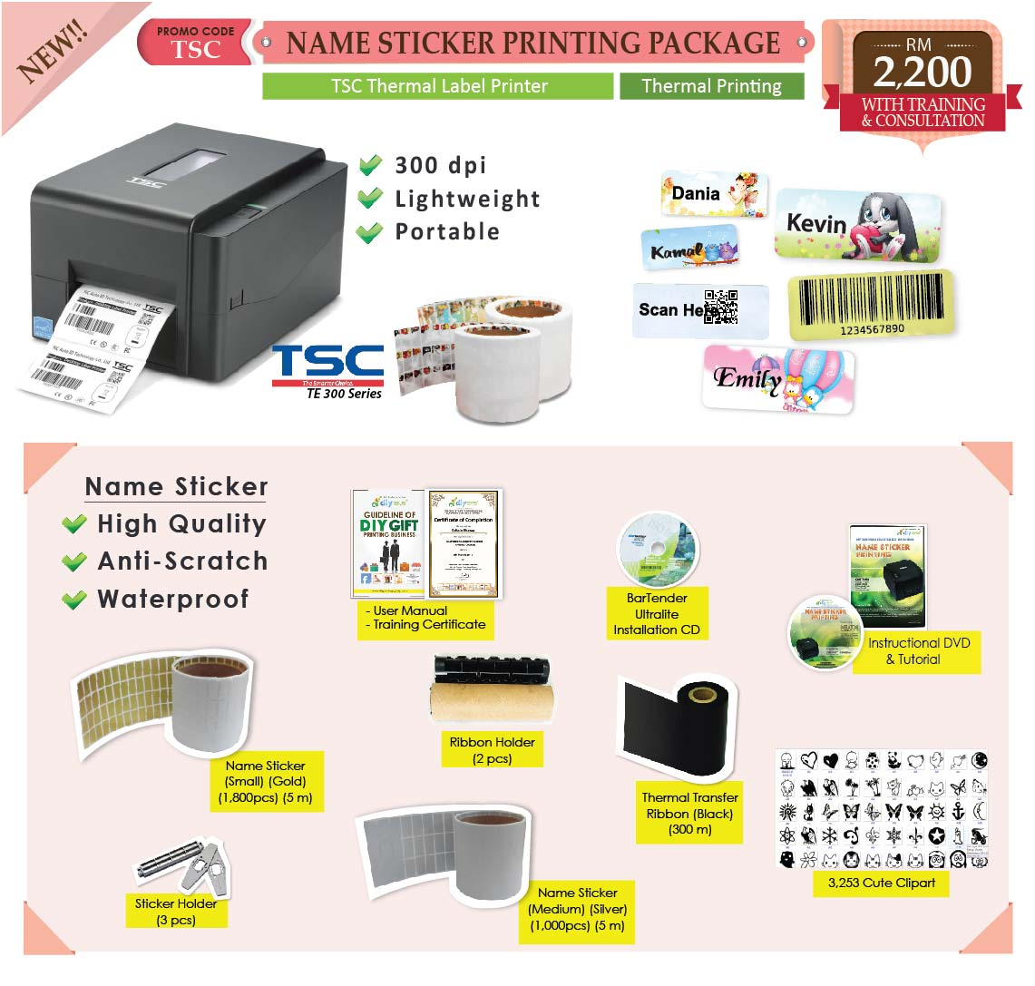 Name sticker printing