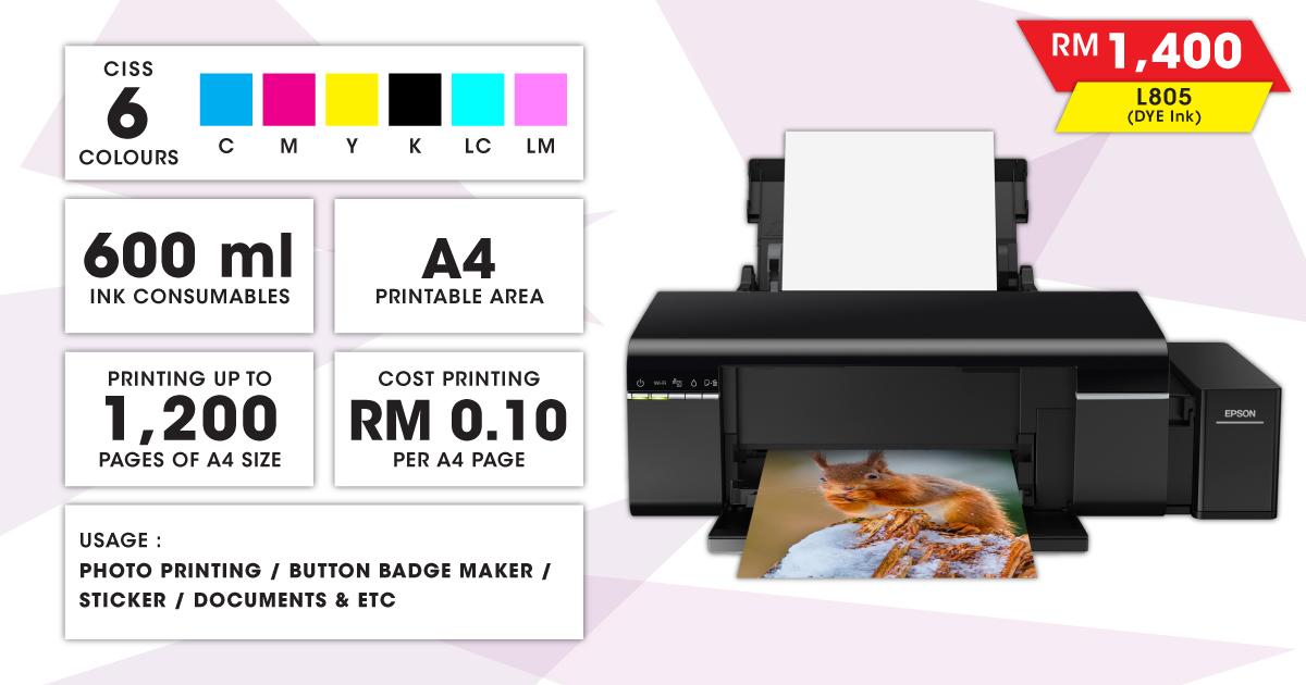 Epson Inkjet Printer (L805 DYE)