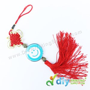 Button Badge With Butterfly Knot (Red) (58mm) (12 Pcs/Pkt)