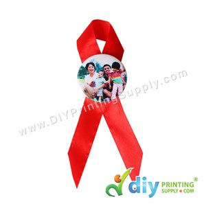 Button Badge Ribbon Award With Mylar (Red) (44mm) (30 ± Pcs/Pkt)