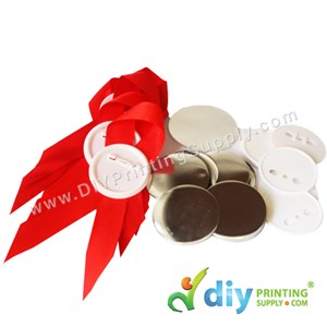Button Badge Ribbon Award With Mylar (Red) (58mm) 50 ± Pcs/Pkt)