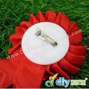 Button Badge Ribbon Medal With Mylar (Red) (44mm) (50 ± Pcs/Pkt)