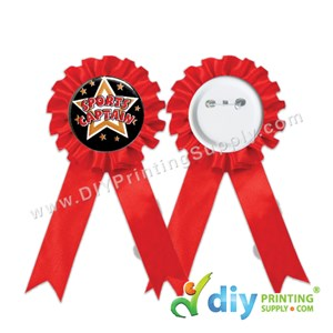 Button Badge Ribbon Medal With Mylar (Red) (58mm) (30 ± Pcs/Pkt)