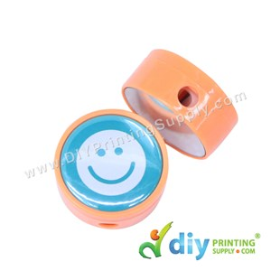 Button Badge Pencil Sharpener With Mylar (Mixed Colours) (44mm) (50 Pcs/Pkt)