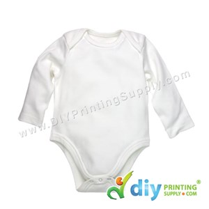 Subli-Cotton Tee (Round Neck) (Baby Romper) (White) (M) (9-12 Months) (Long Sleeve)