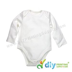Subli-Cotton Tee (Round Neck) (Baby Romper) (White) (M) (9-12 Months) (Long Sleeve)