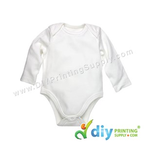 Subli-Cotton Tee (Round Neck) (Baby Romper) (White) (XS) (3-6 Months) (Long Sleeve)