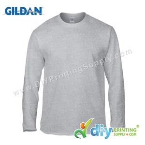 Gildan Cotton Tee (Round Neck) (Grey) (XXL) (180Gsm) (Long Sleeve)