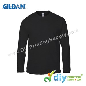 Gildan Cotton Tee (Round Neck) (Black) (L) (180Gsm) (Long Sleeve)