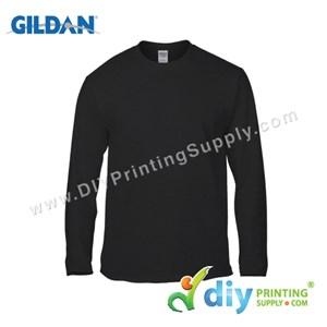 Gildan Cotton Tee (Round Neck) (Black) (L) (180Gsm) (Long Sleeve)