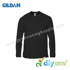 Gildan Cotton Tee (Round Neck) (Black) (S) (180Gsm) (Long Sleeve)