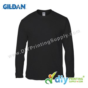 Gildan Cotton Tee (Round Neck) (Black) (XL) (180Gsm) (Long Sleeve)