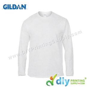 Gildan Cotton Tee (Round Neck) (White) (L) (180Gsm) (Long Sleeve)