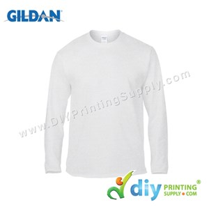 Gildan Cotton Tee (Round Neck) (White) (M) (180Gsm) (Long Sleeve)