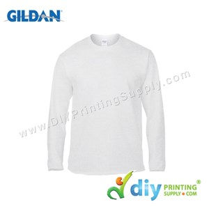 Gildan Cotton Tee (Round Neck) (White) (S) (180Gsm) (Long Sleeve)