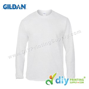 Gildan Cotton Tee (Round Neck) (White) (XL) (180Gsm) (Long Sleeve)