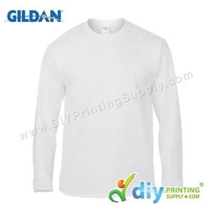 Gildan Cotton Tee (Round Neck) (White) (XXL) (180Gsm) (Long Sleeve)