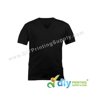 Cotton Tee (V-Neck) (Black) (M)