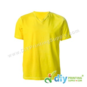 Cotton Tee (V-Neck) (Yellow) (XL)