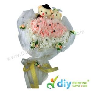 Flower Bouquet With Teddy Bear (40cm)