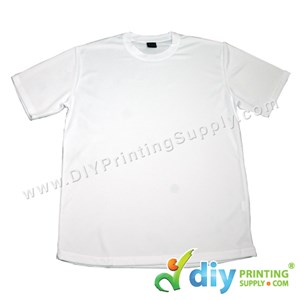 Dryfit Tee (Round Neck) (Unisex) (Full White) (XL) (160Gsm)