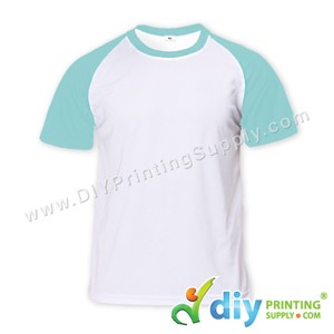 Dryfit Tee With Colour Sleeve (Round Neck) (Unisex) (Blue Sleeve) (XL) (160Gsm)