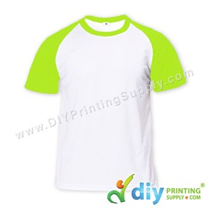 Dryfit Tee With Colour Sleeve (Round Neck) (Unisex) (Green Sleeve) (XL) (160Gsm)