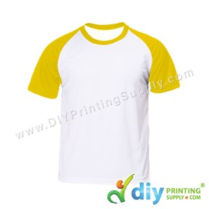 Dryfit Tee With Colour Sleeve (Round Neck) (Unisex) (Yellow Sleeve) (L) (160Gsm)