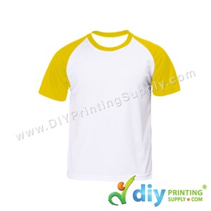 Dryfit Tee With Colour Sleeve (Round Neck) (Unisex) (Yellow Sleeve) (M) (160Gsm)