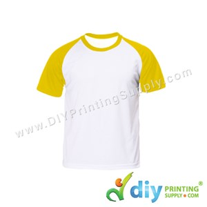 Dryfit Tee With Colour Sleeve (Round Neck) (Unisex) (Yellow Sleeve) (S) (160Gsm)