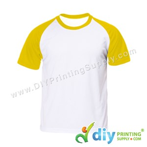 Dryfit Tee With Colour Sleeve (Round Neck) (Unisex) (Yellow Sleeve) (XL) (160Gsm)