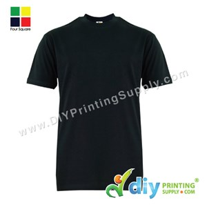 Foursquare Cotton Tee (Round Neck) (Black) (L) (160Gsm)