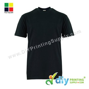 Foursquare Cotton Tee (Round Neck) (Black) (M) (160Gsm)