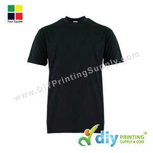 Foursquare Cotton Tee (Round Neck) (Black) (S) (160Gsm)