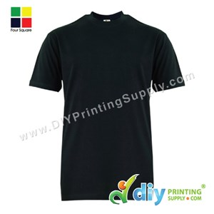 Foursquare Cotton Tee (Round Neck) (Black) (XL) (160Gsm)