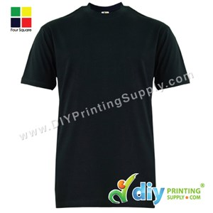Foursquare Cotton Tee (Round Neck) (Black) (XXXL) (160Gsm)