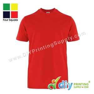 Foursquare Cotton Tee (Round Neck) (Red) (L) (160Gsm)