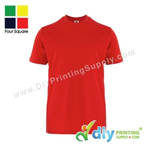 Foursquare Cotton Tee (Round Neck) (Red) (M) (160Gsm)