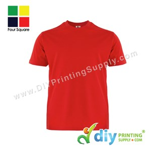 Foursquare Cotton Tee (Round Neck) (Red) (S) (160Gsm)