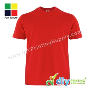 Foursquare Cotton Tee (Round Neck) (Red) (XL) (160Gsm)