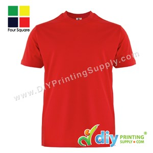 Foursquare Cotton Tee (Round Neck) (Red) (XXL) (160Gsm)