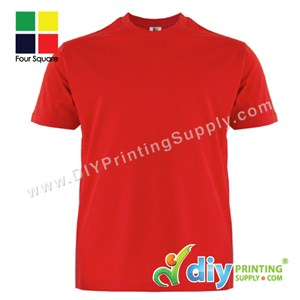 Foursquare Cotton Tee (Round Neck) (Red) (XXXL) (160Gsm)