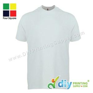 Foursquare Cotton Tee (Round Neck) (White) (L) (160Gsm)