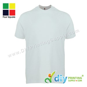 Foursquare Cotton Tee (Round Neck) (White) (L) (160Gsm)