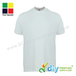 Foursquare Cotton Tee (Round Neck) (White) (M) (160Gsm)