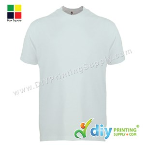 Foursquare Cotton Tee (Round Neck) (White) (XL) (160Gsm)