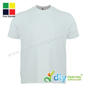 Foursquare Cotton Tee (Round Neck) (White) (XXL) (160Gsm)