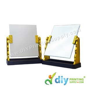 Glass Mirror With Stand (Gold) (17 X 14cm)