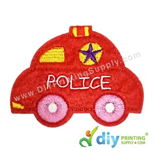 Garment Material (Police Car) (80 X 60mm) [Red]