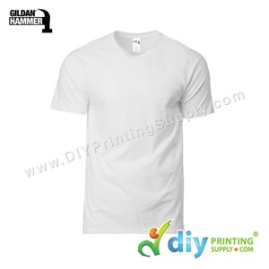 Hammer Cotton Tee (Round Neck) (White) (L) (210Gsm)